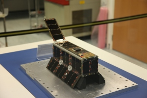 UKube-1 in flight configuration in the cleanroom at Clyde Space Ltd (photo courtesy of Steve Greenland)